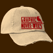 Graphic Novel-Tees 1 color Logo red ball cap distressed