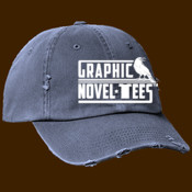 Graphic Novel-Tees 1 color Logo white ball cap distressed